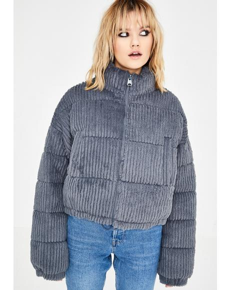 Fluffy Corduroy Puffer Jacket