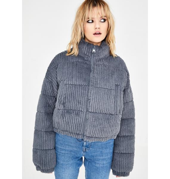 BDG Fluffy Corduroy Puffer Jacket