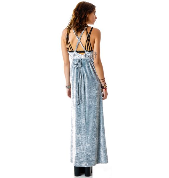 For Love & Lemons Silver Vixen Maxi Dress