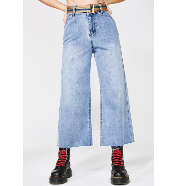 Molly Bracken Wide Leg Denim Jeans With Belt