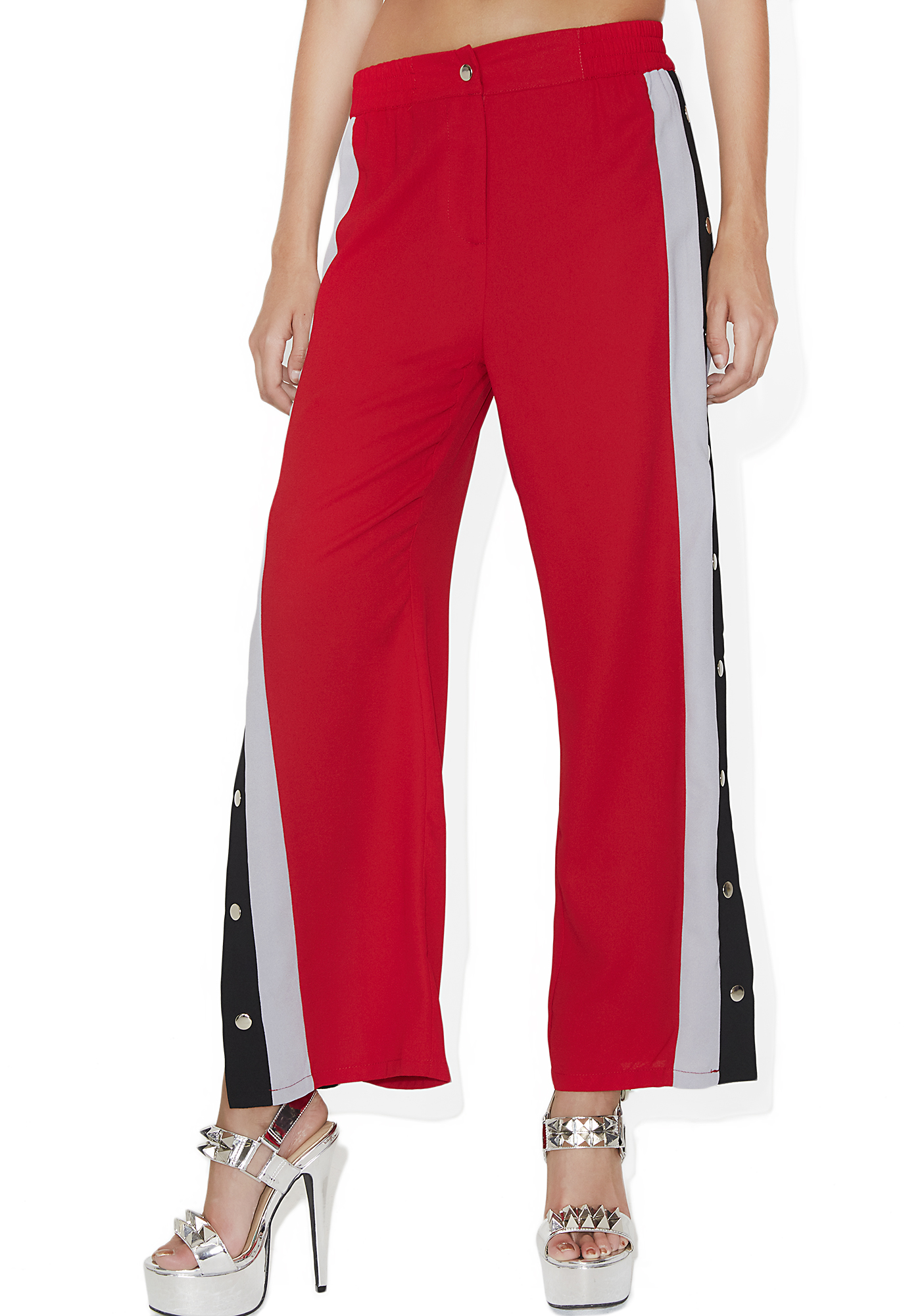 Red Side Button Track Pants