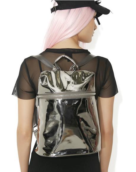 Silver Technoglow Metallic Backpack