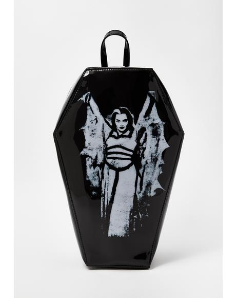 Lily Munster Bat Wing Coffin Backpack