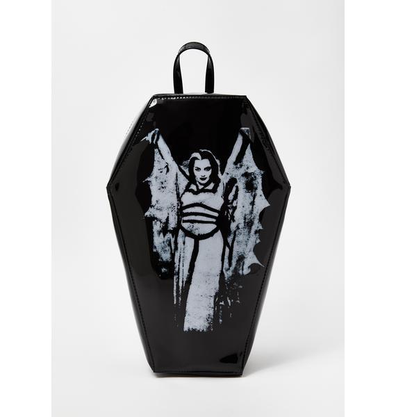 Rock Rebel Lily Munster Bat Wing Coffin Backpack