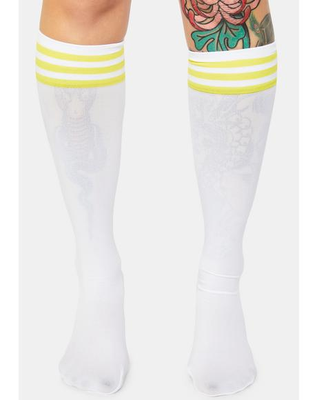 Yellow Sporty Sass Stripe Knee High Socks