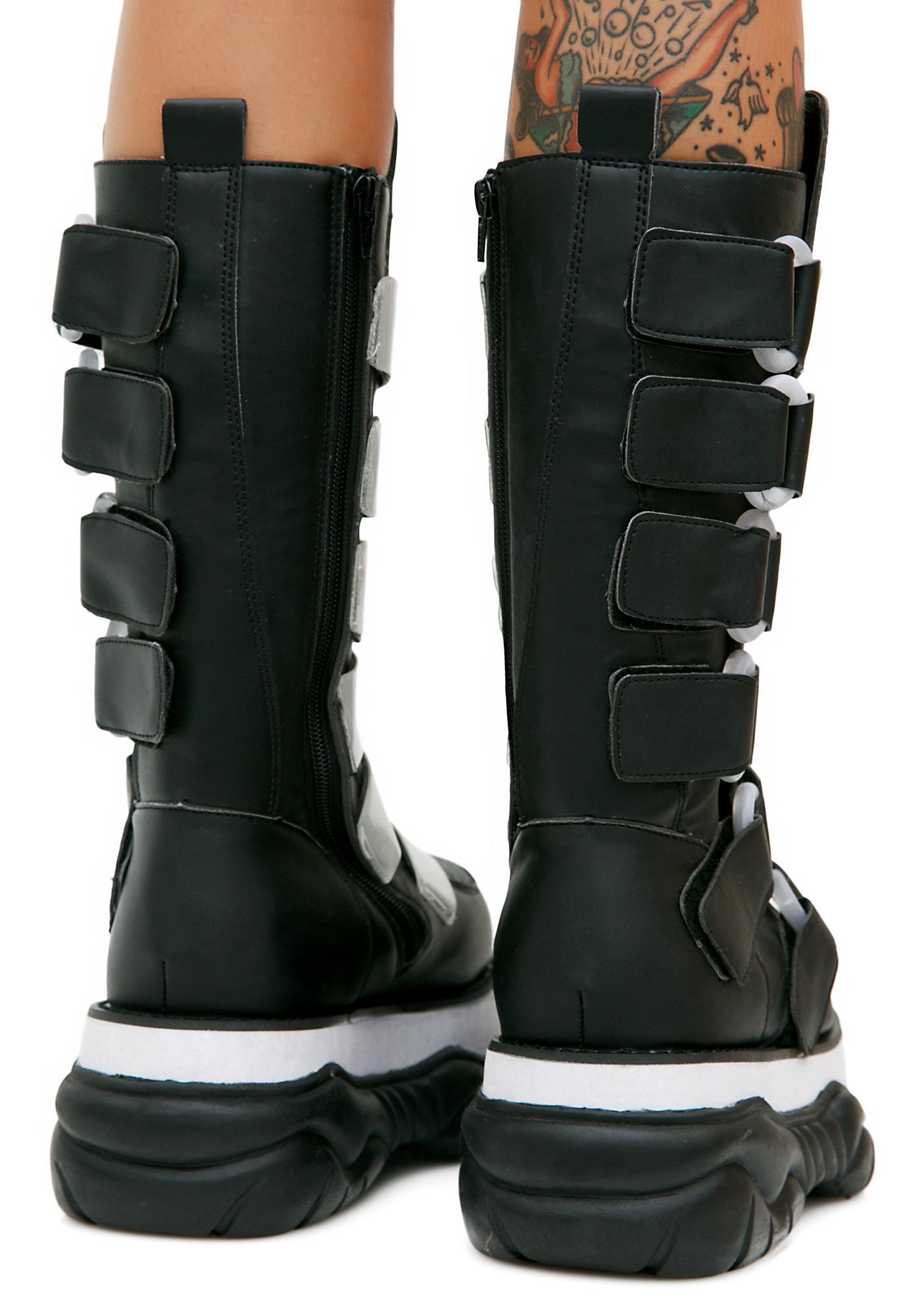 Demonia Cyber Neptune UV Reactive Platform Boots