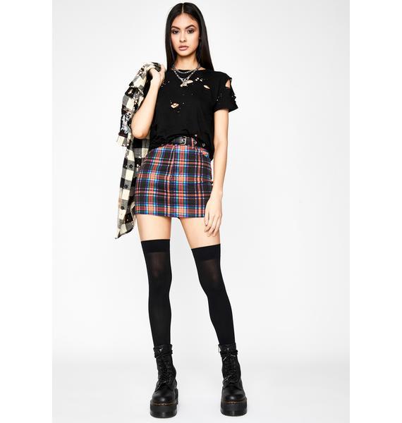 Daily Drama Plaid Skirt