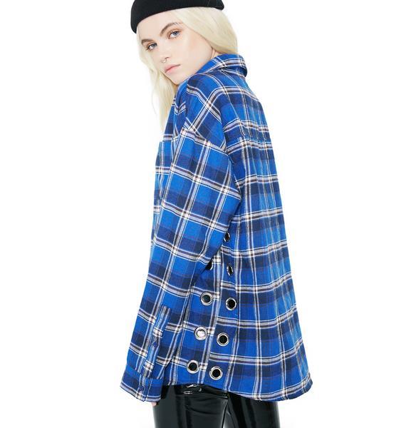 Walk Alone Grommet Flannel Top