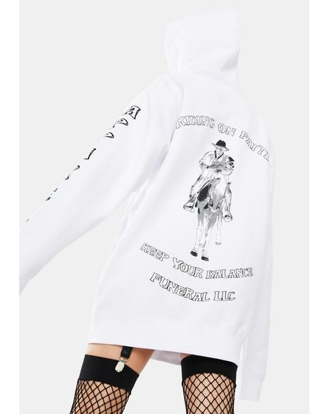 White Riding On Faith Graphic Hoodie