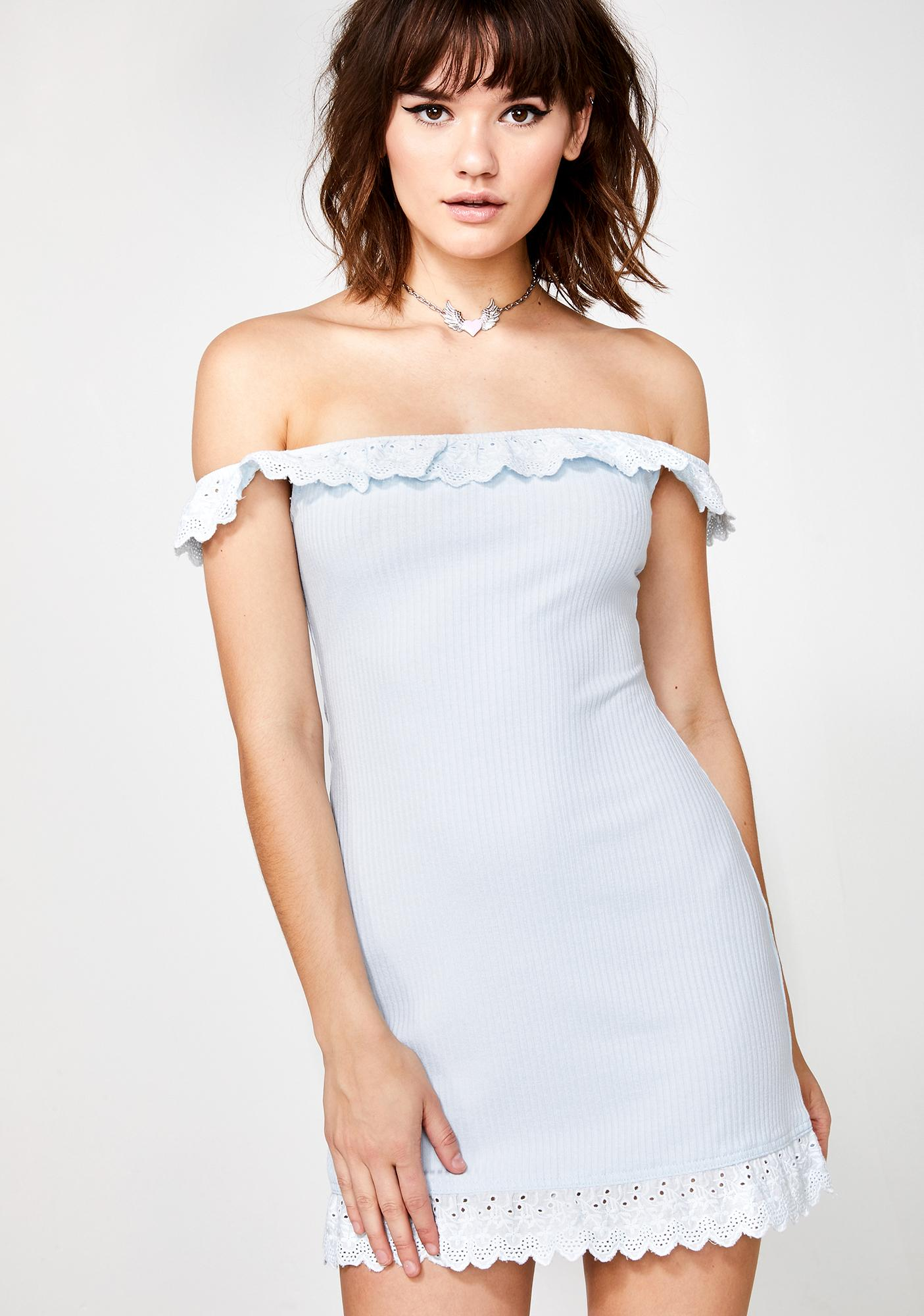 4c58e37046ff Mini Dress Off Shoulder Eyelet Blue