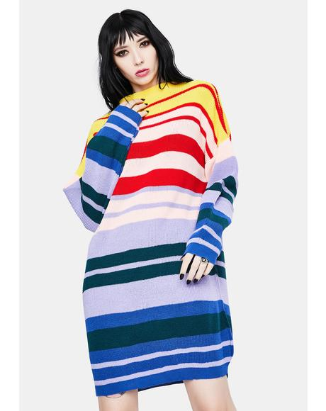 Rainbow Knitted Midi Dress