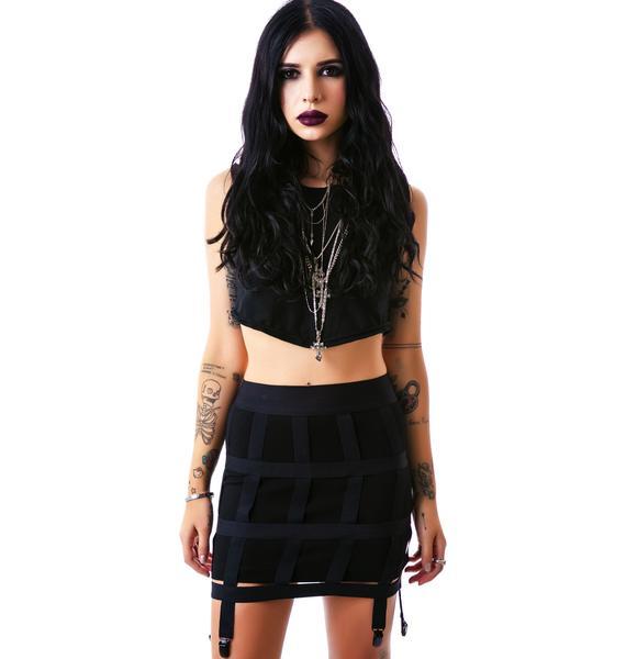 Lip Service Off the Grid Cage Garter Skirt