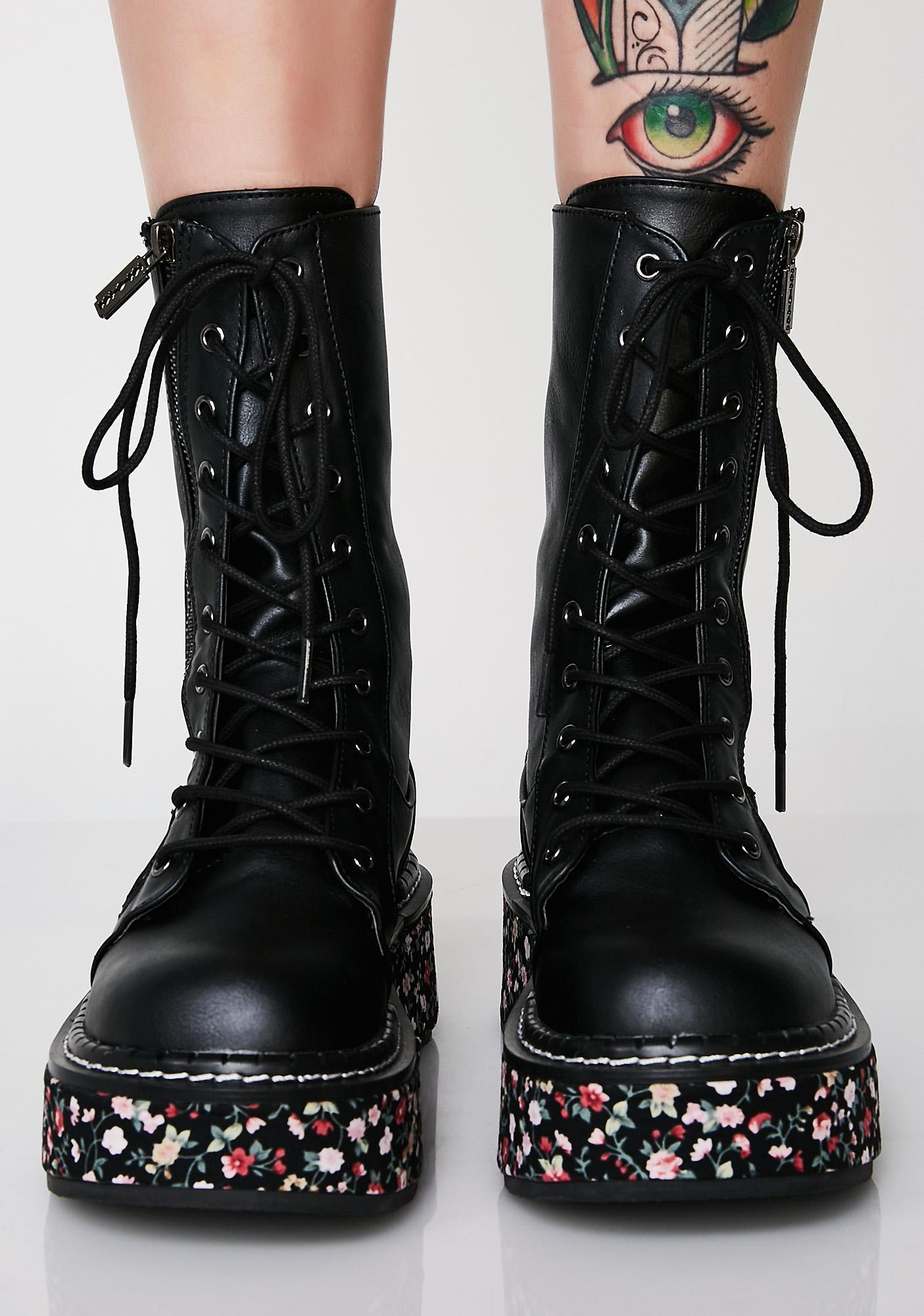 Demonia I'ma Cool Gal Combat Boots