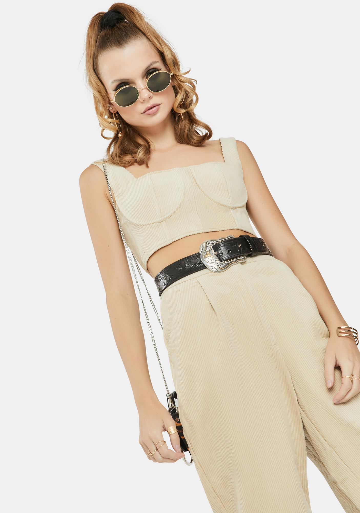 Glamorous Stone Underwire Cropped Tank Top