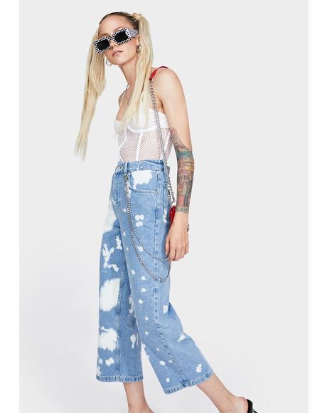 Bleach Splattered Grip Wide Leg Jeans