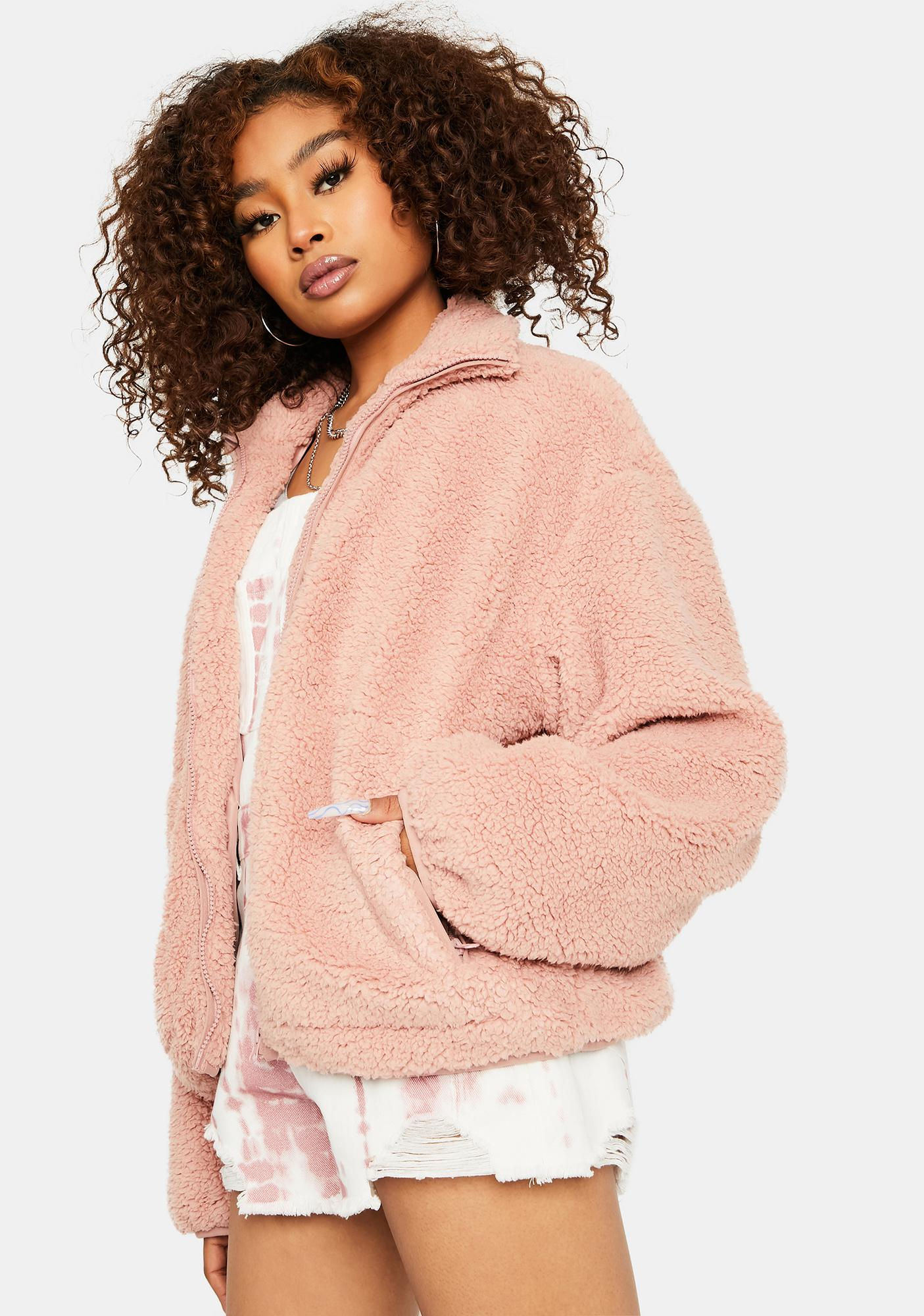 Rose Catch My Breath Oversized Teddy Jacket