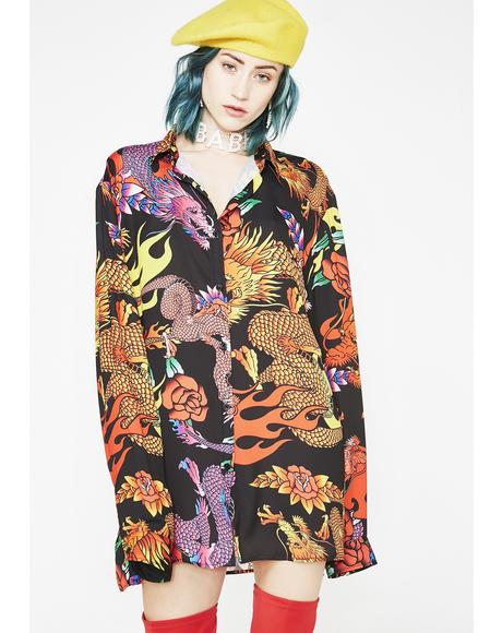 Dragon Print Oversized Shirt