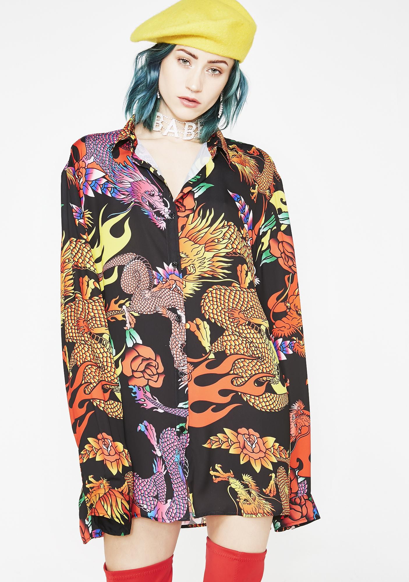 add36c2f8a2 Jaded London Dragon Print Oversized Shirt | Dolls Kill