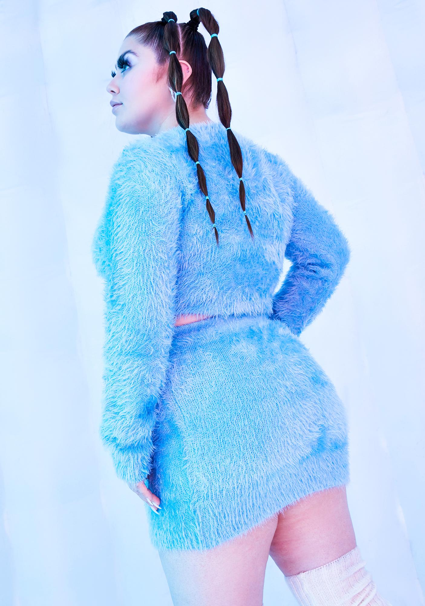 Club Exx I'll Freeze U Out Fuzzy Knit Mini Skirt