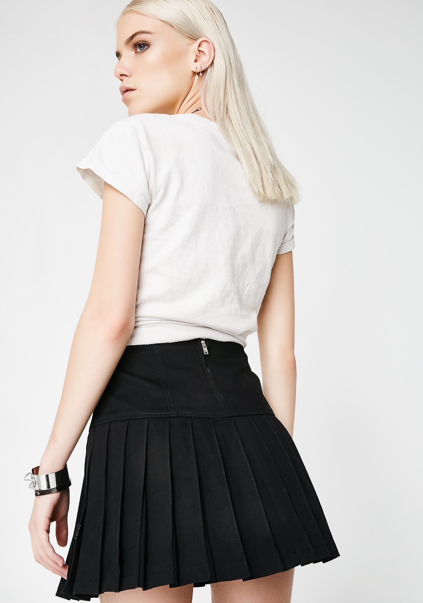 Tripp NYC Buckle Pleated Skirt