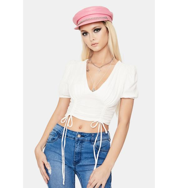 Ivory Picture Perfect Ruched Crop Top
