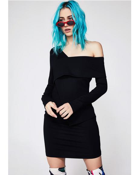 Ponte Asymmetric Mini Dress