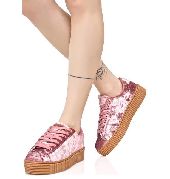 Blush Lyn-Z Velvet Creeper Sneakers