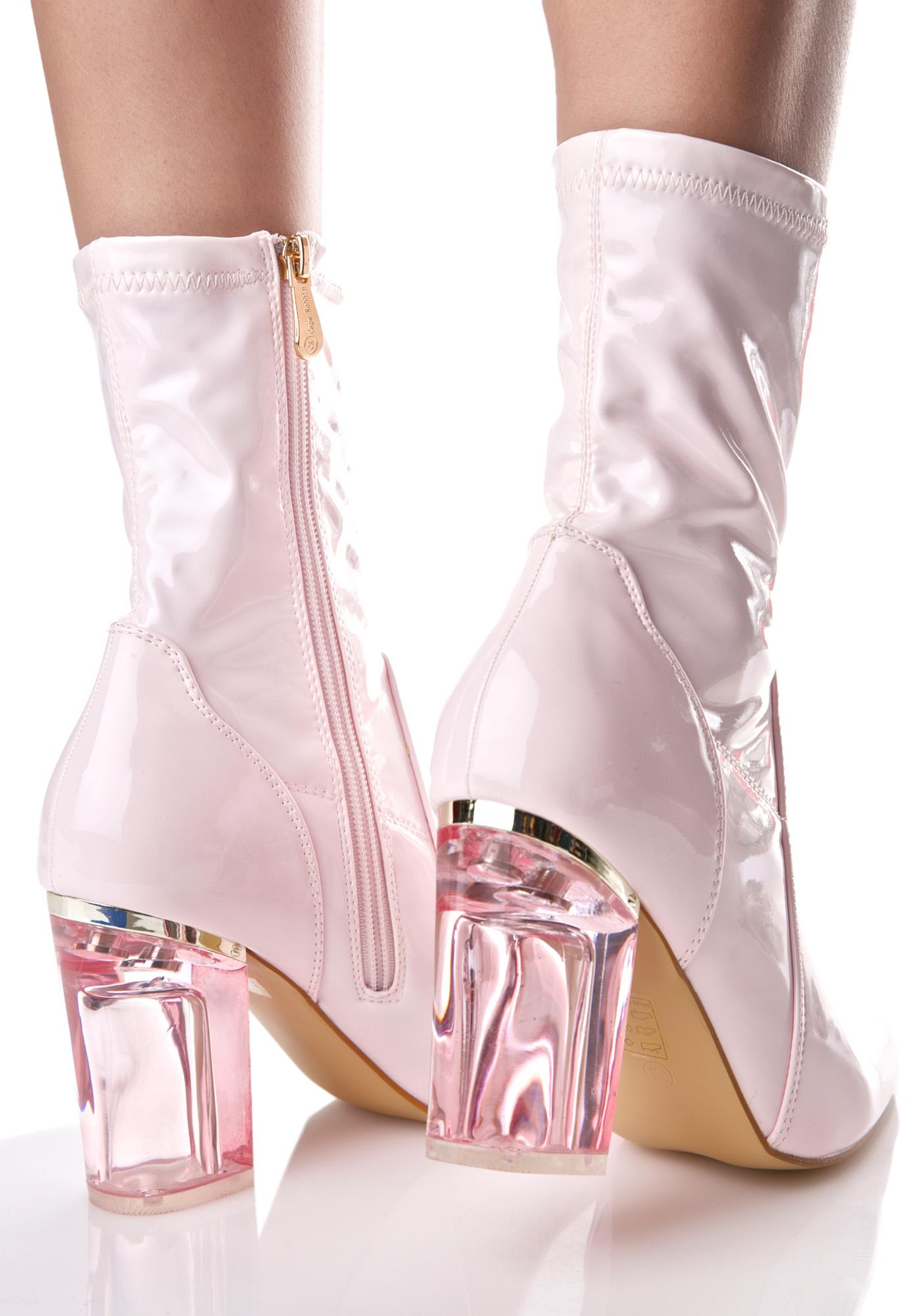 1370de95778 Pink Clear Heel Boot | Dolls Kill