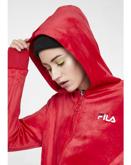 Cipriana Emboss Velour Hoodie