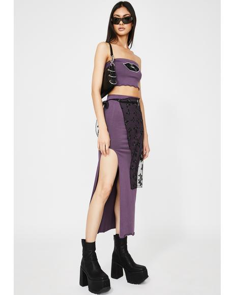 Light Purple Lips 3 Piece Skirt Set