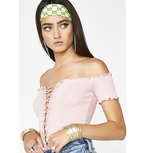 Sweet Crossed Lines Lace-Up Top