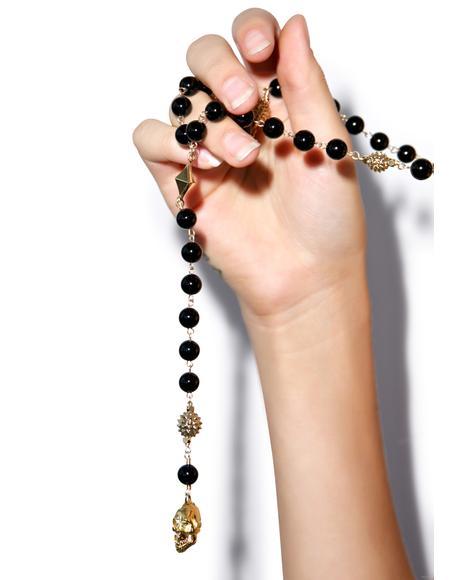 Moda Skull Charm Necklace