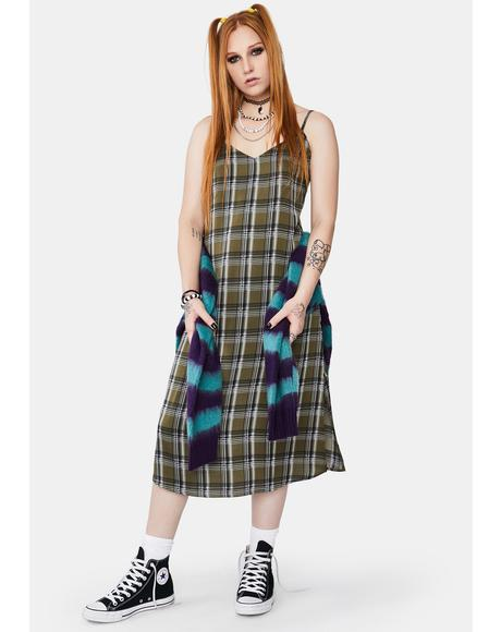 Becky Plaid Midi Dress