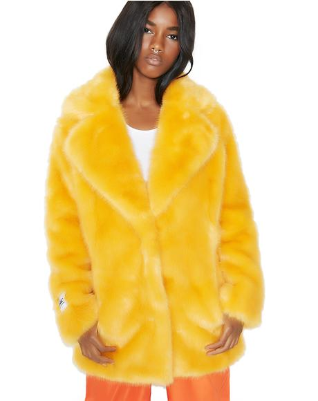 Heather Fuzzy Faux Fur Coat