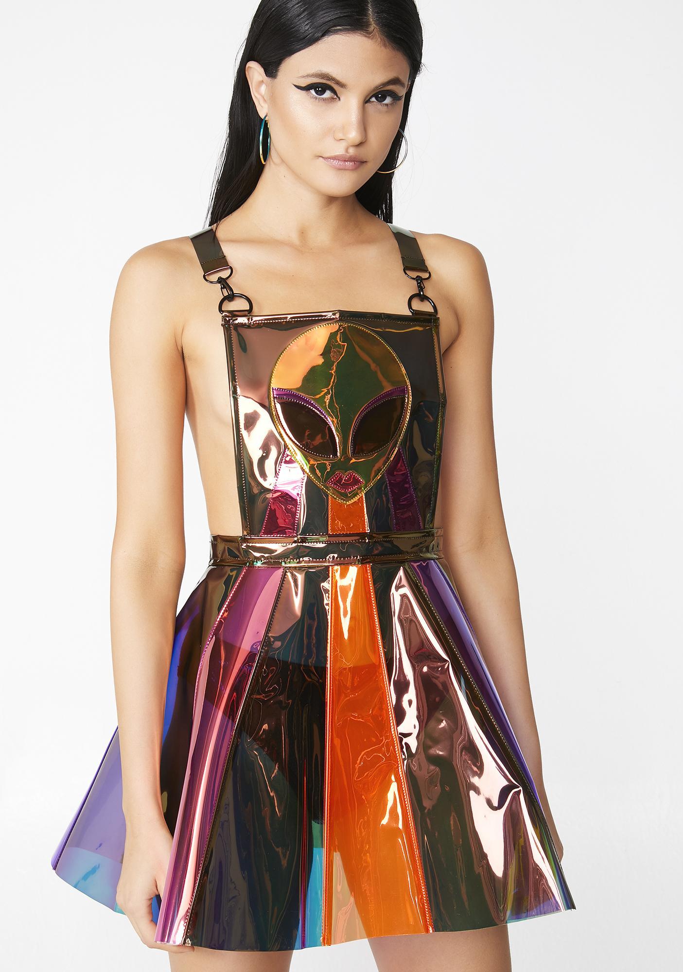Club Exx Beam Me Up Hologram Overall Dress