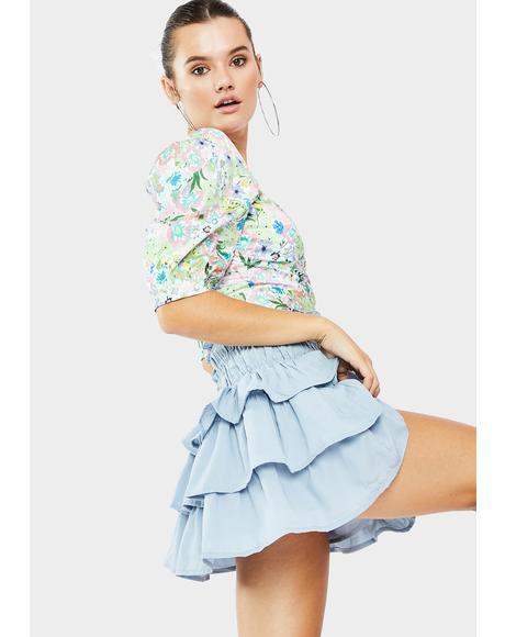 Sky Ballerina Boheme Ruffle Skirt