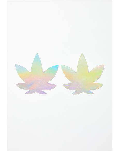 Care Bare Stare Holographic Weed Leaf Pasties