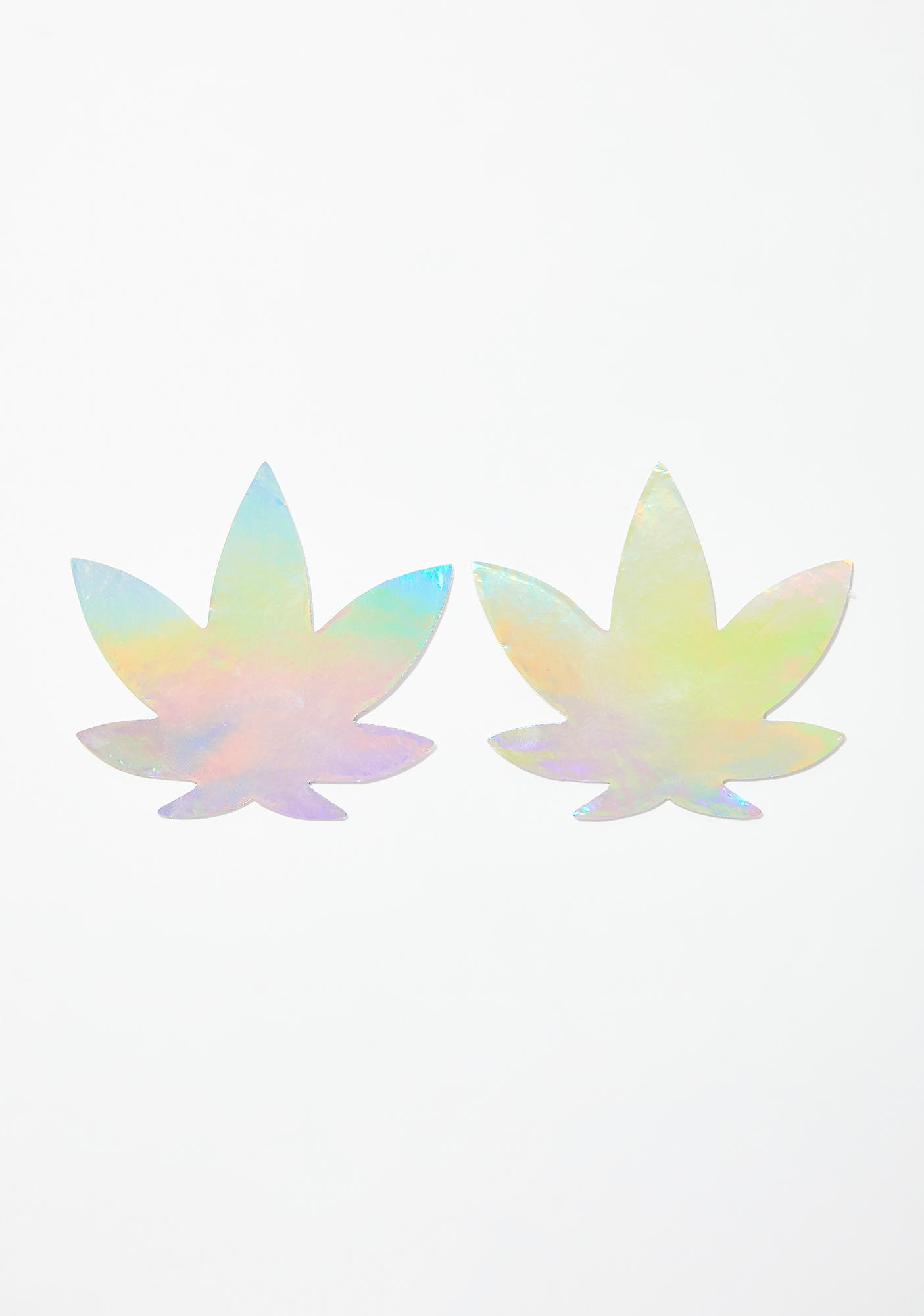 Neva Nude Care Bare Stare Holographic Weed Leaf Pasties
