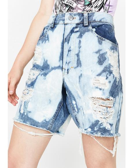 Gusset Denim Shorts