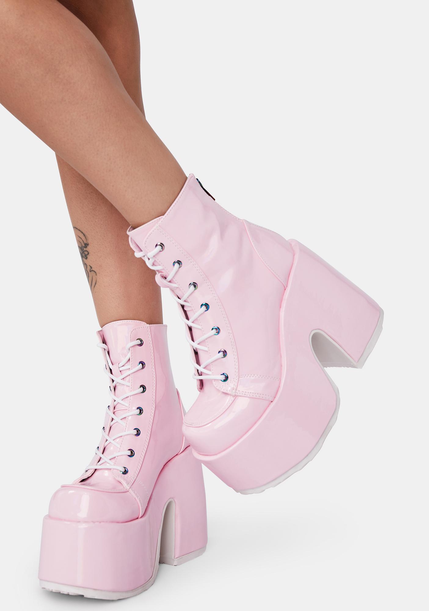 Demonia Bubblegum Rave Royalty Platform Boots
