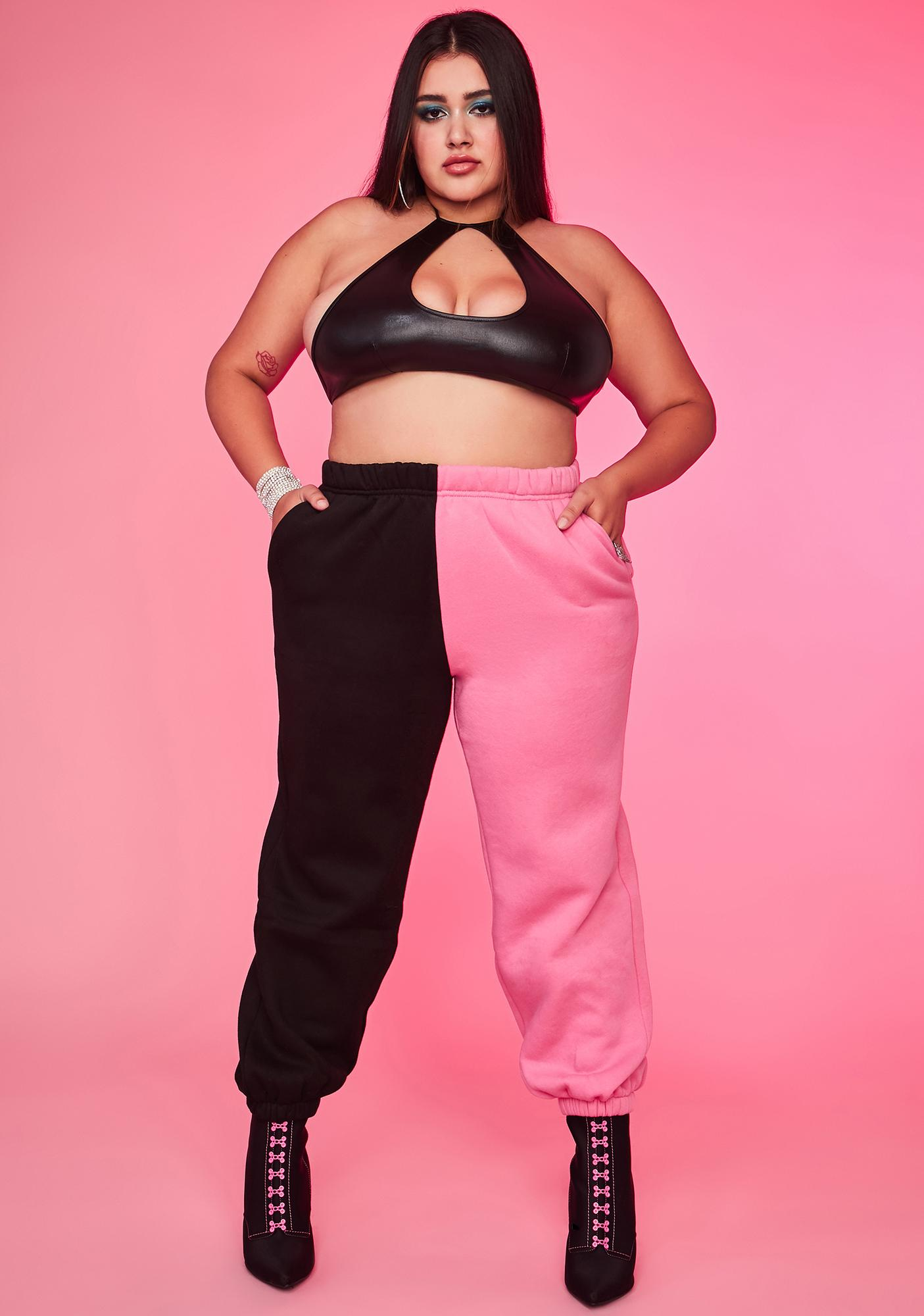 Bubblegum Luxe Slacker Squad Two Tone Sweatpants