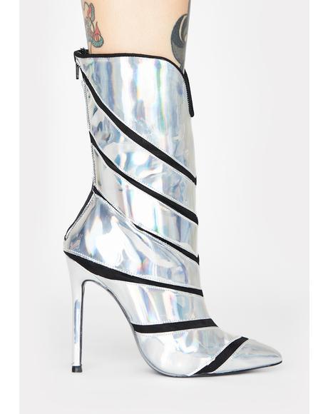 Plushin Holographic Heeled Boots