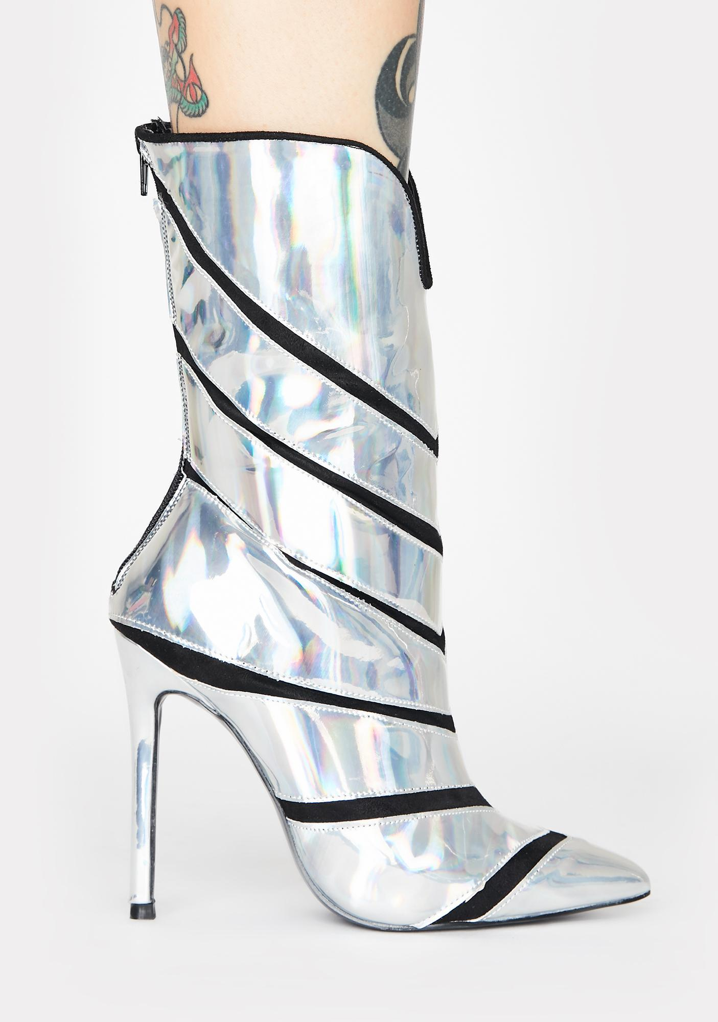 Lemon Drop by Privileged Plushin Holographic Heeled Boots