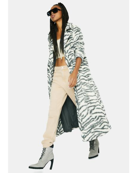 Zebra Cake Faux Fur Coat