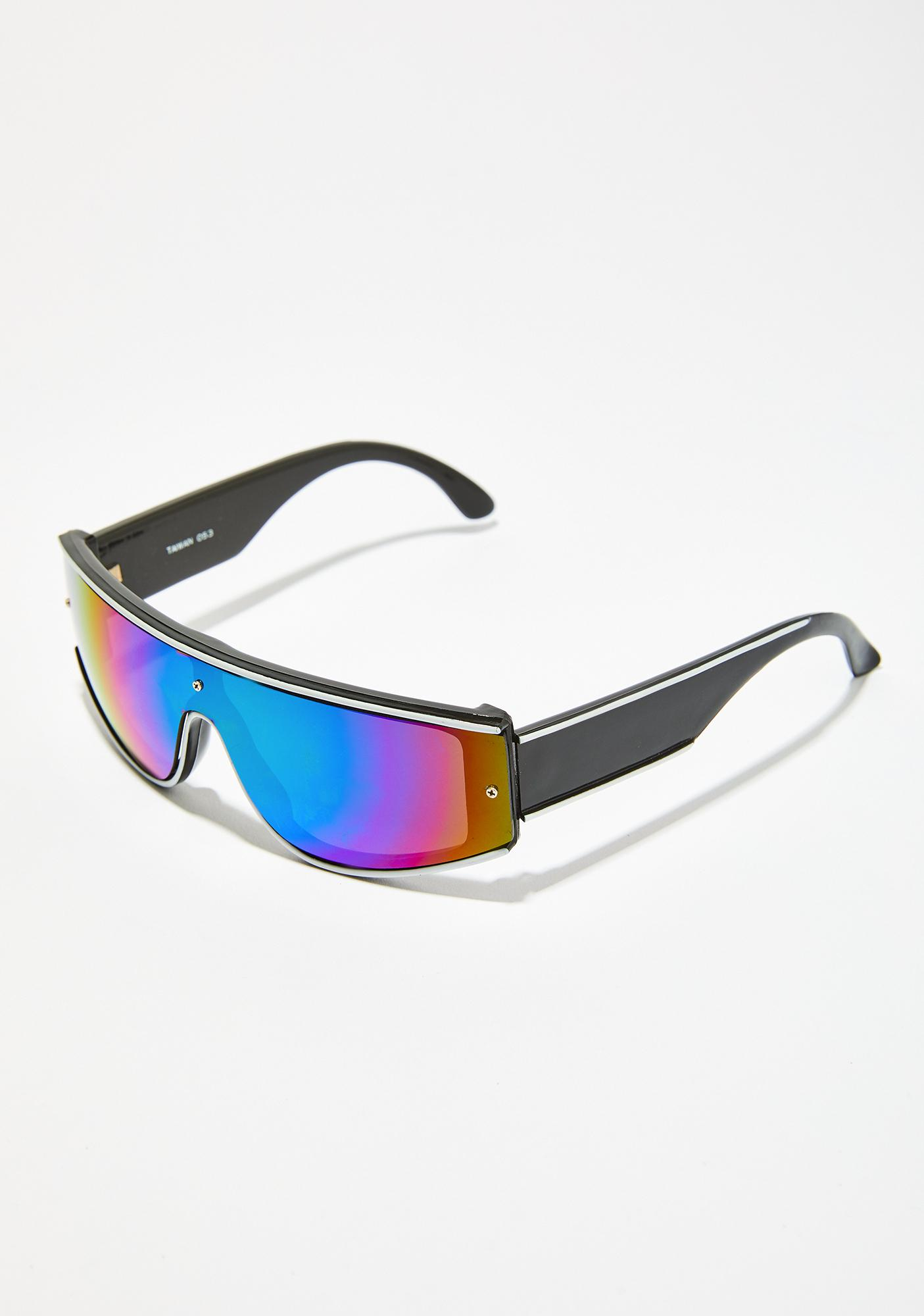 92083ac816 Rainbow Futuristic Shield Sunglasses