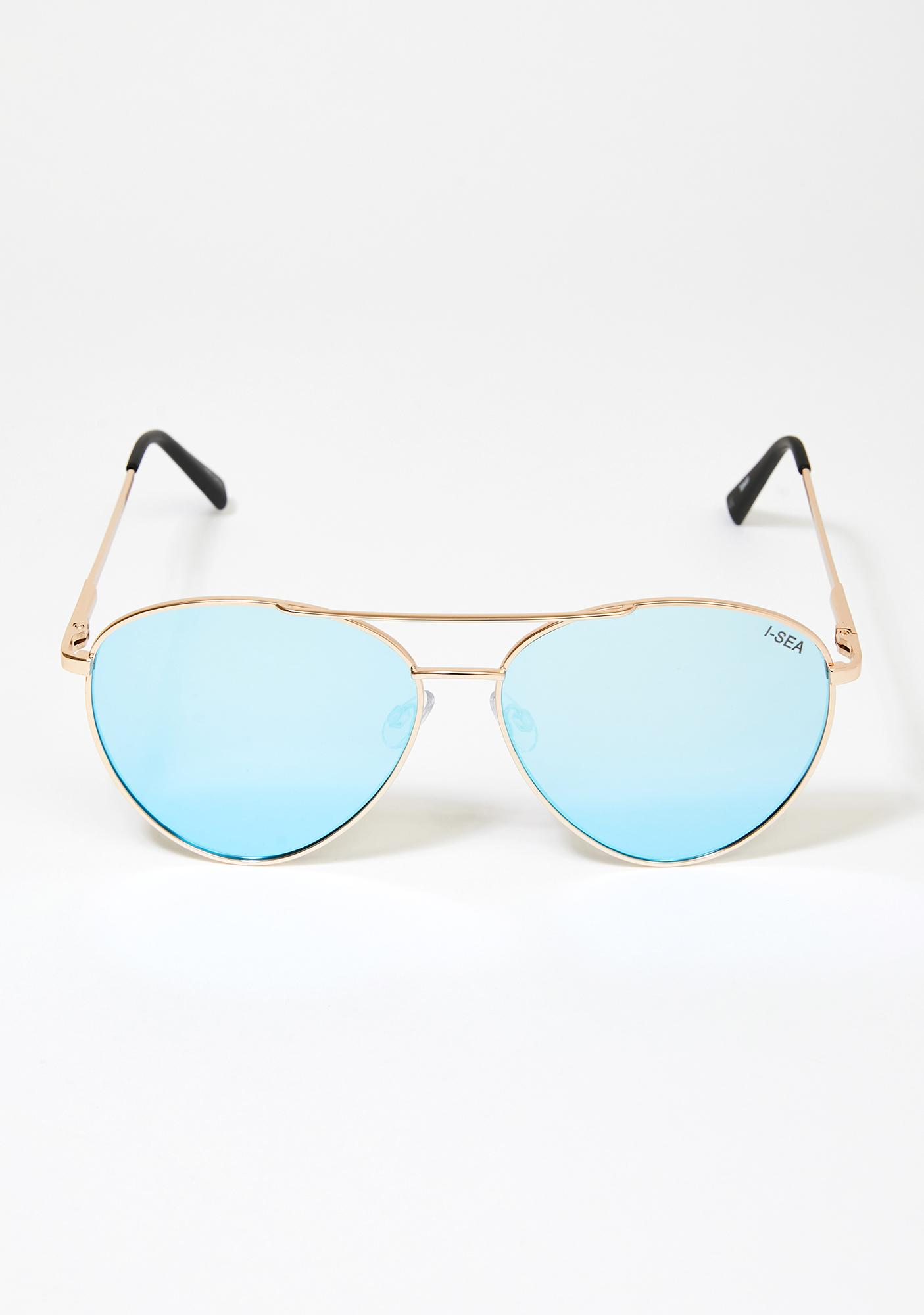 I-SEA Blue Charlie Aviator Sunglasses