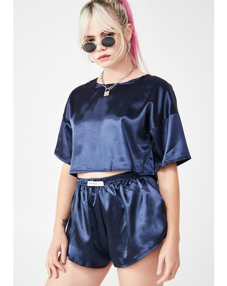 Satin Crop Tee N' Shorts Set