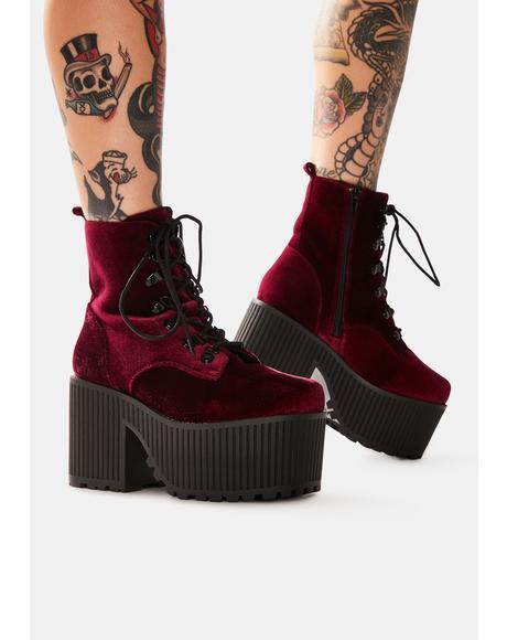 Creep Burgundy Velvet Platform Boots