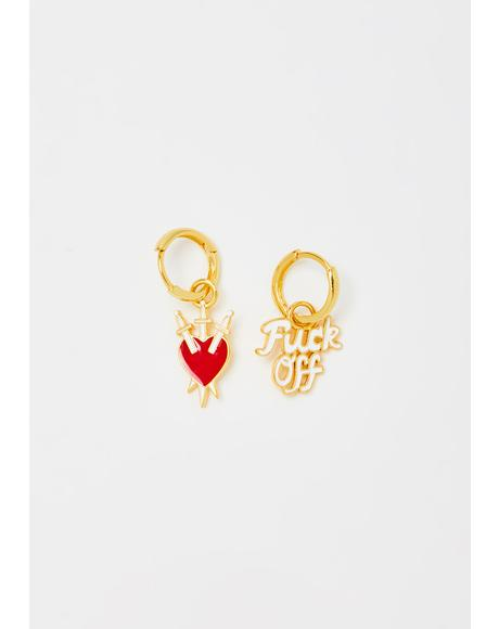 F Off N' Heart Hoop Earrings