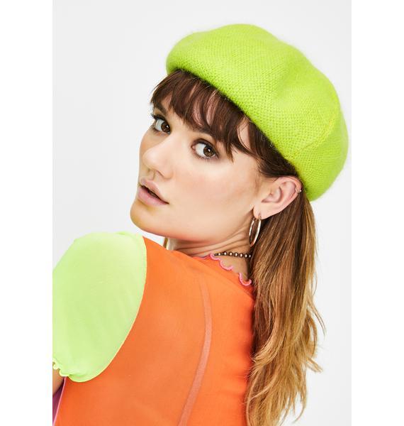 Lime She's Fancy Knit Beret